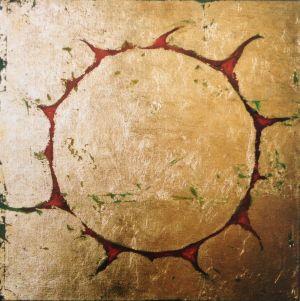 Aureole, acrylic and metallic leaf on linen. www.celeste.nz