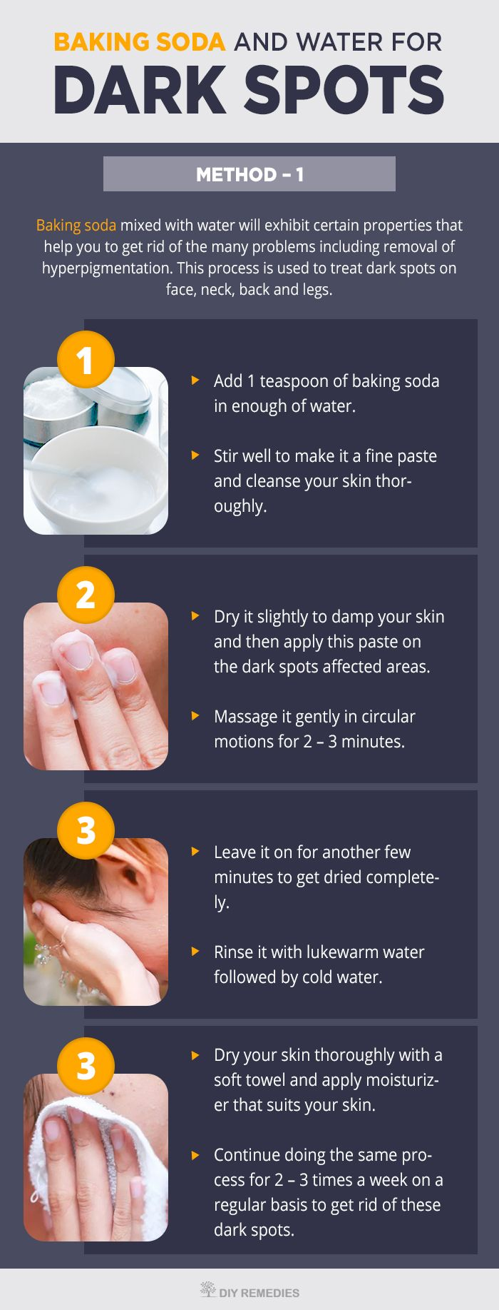 How To Use Baking Soda For Dark Spots    Baking soda mixed with water will exhibit certain properties that help you to get rid of the many problems including removal of hyperpigmentation. This process is used to treat dark spots on face, neck, back and legs.    #Darksports #BakingSoda