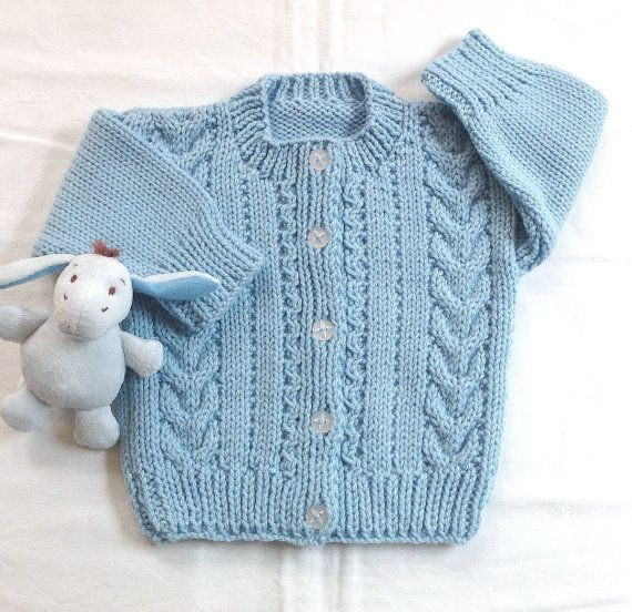 Knit Baby Cardigan 6 To 12 Months Baby Blue Sweater