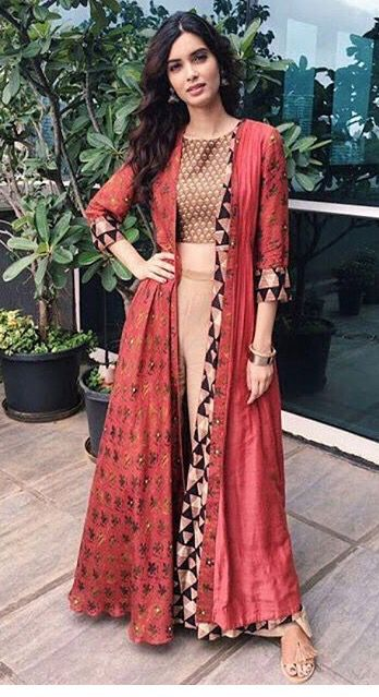 Diana Penty looking gorgeous in this indo western dress..just loved the colors…