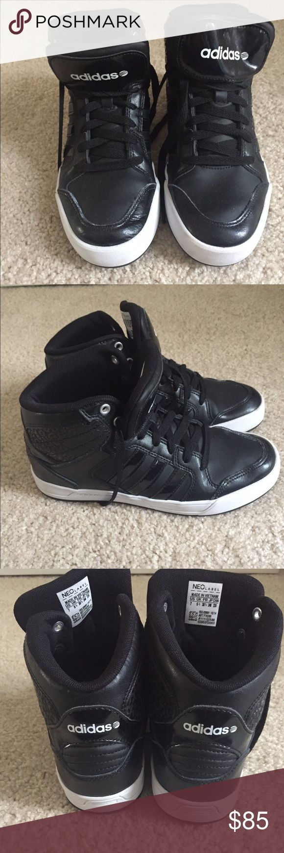 Adidas High-Top Sneakers Only worn three times! Stylish, black high top sneakers Adidas Shoes Sneakers