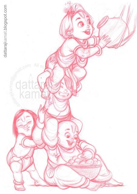 DATTARAJ KAMAT Animation art: Krishna leela