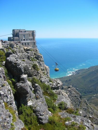 going to the top of Table Mountain in a cable car