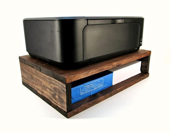 Rustic Wooden Printer Stand with Interior Storage - Handmade Printer & Paper…