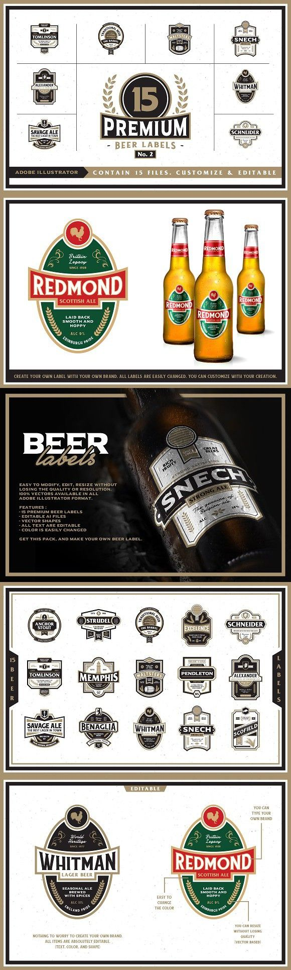 Premium Beer Labels No. 2. Logo Templates