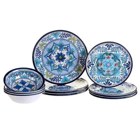 Talavera Heavy Weight 12 Piece Melamine Dinnerware Set Service for 4  sc 1 st  Pinterest : casual dinnerware sets service for 12 - Pezcame.Com