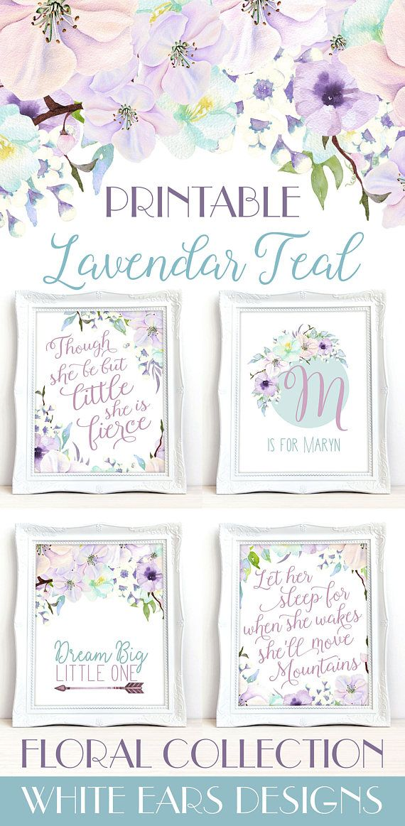 Lavendar Teal Floral Nursery Art  Flower Nursery Wall Art