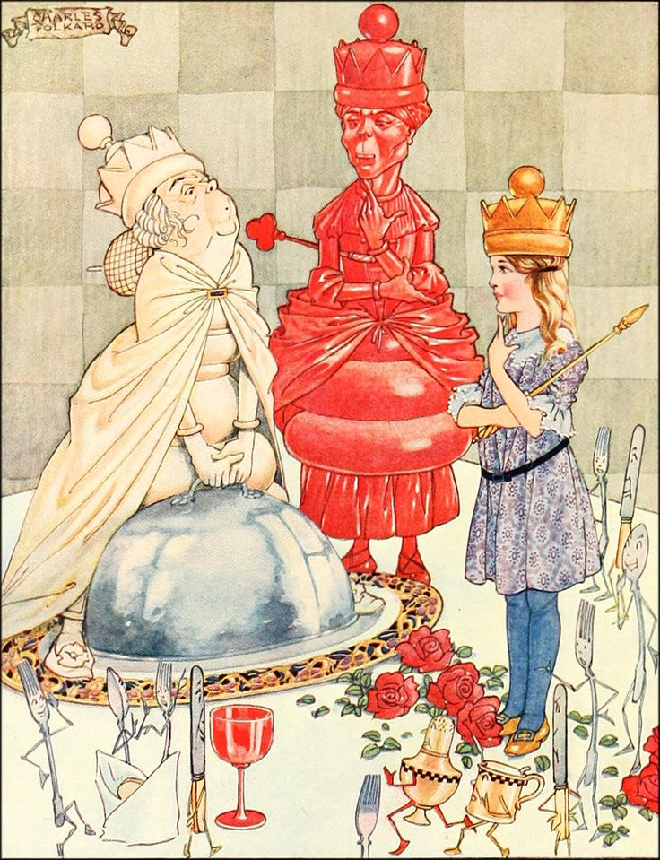 """11. """"The Fish Riddle."""" ---- Charles Folkard Illustrations: Songs from Alice in Wonderland and Through the Looking-Glass"""