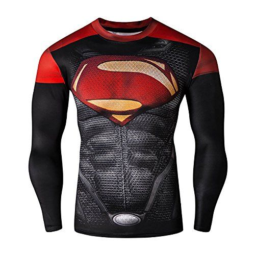 Mens Compression Long Sleeve Running Fitness Workout Base Layer Shirt * Want to know more, click on the image.