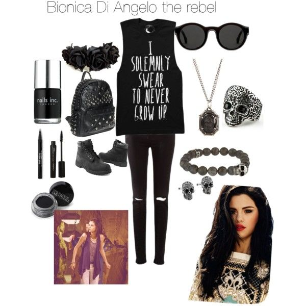 Bionica Di Angelo the daughter of Nico Di Angelo by vlsnow on Polyvore featuring moda, Timberland, King Baby Studio, Mykita, Monsieur, Giorgio Armani, CARGO, Trish McEvoy and Nails Inc.