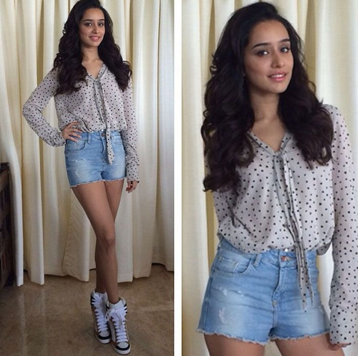 Shraddha Kapoor looked cool in a Gas shirt, Zara shorts and Chloe shoes as she headed for promotions of Haider.