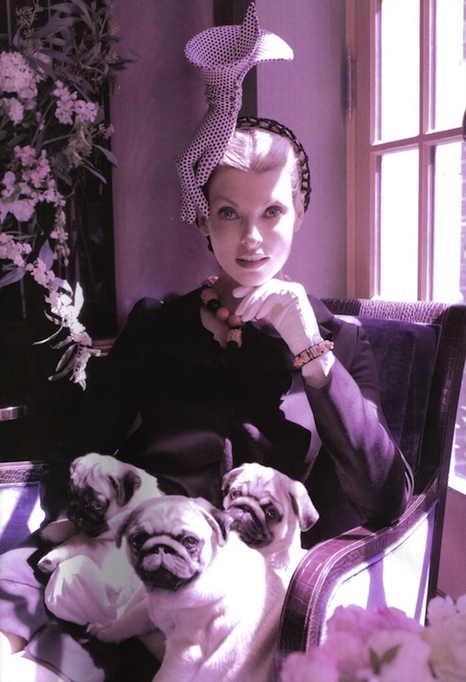 "The Terrier and Lobster: ""The Duchess"": Linda Evangelista and Pugs by Steven Meisel for Vogue Italia"