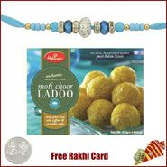Rakhi with Motichoor Ladoo  Free Silver Coin and rakhi gifts to mumbai