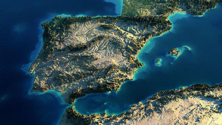 Mapa f sico de portugal y espa a con relieve en 3d mapas - Banarse con delfines portugal ...