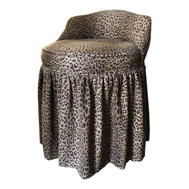 Skirted Leopard Vanity Stool