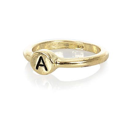 Gold tone A initial midi ring