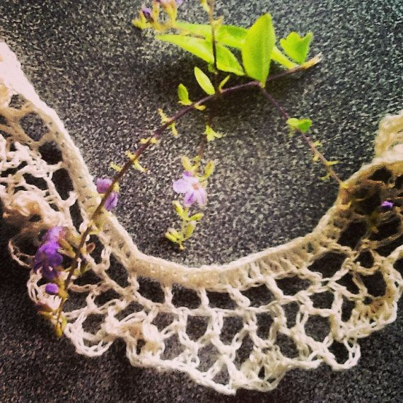 Handmade crochet linen lariat necklace scarf  White by LOLAsHome, $22.00