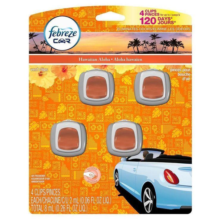Febreze Car Vent-Clips Air Fresheners Hawaiian Aloha 4 Count 0.26 Fl. Oz