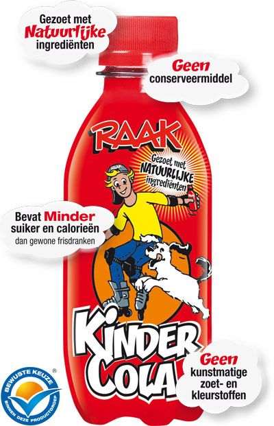 RAAK KinderLimo: KinderCola: nog steeds veel suiker wel 15 gram per flesje = bijna 4 klontjes!