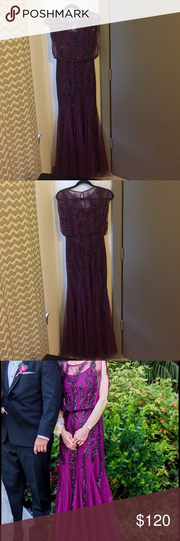 Aidan Mattox beaded blouson dress Only worn once! Can fit size 0 too. Approx. 53 inches long Aidan Mattox Dresses Prom