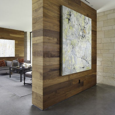 Love wooden accent walls, can be contemporary yet country