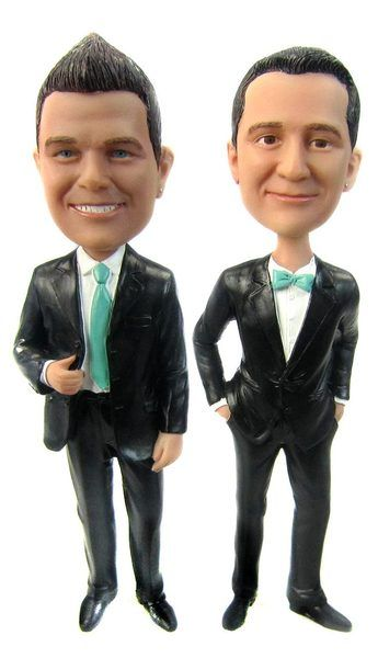Set of Same Sex Fashionably Funny Groom Cake Toppers are customized to look like you!