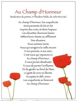 Une affiche pour le Jour du Souvenir: Au Champ d'honneur, la traduction du poème, In Flanders Fields, de John McCrae.