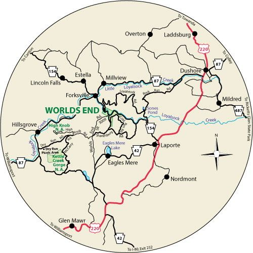 This circular map shows the roads leading to Worlds End State Park, Pennsylvania.