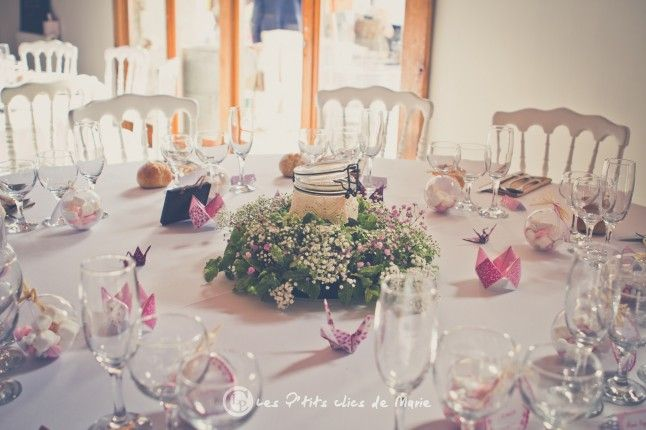 centre de table couronne de gypsophile  au mariage de Mme Coquette