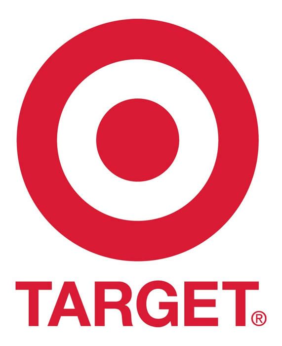 The circular symbol for Target is an example of the Gestalt principle in relation to similarity. There are two red circles close to each other.