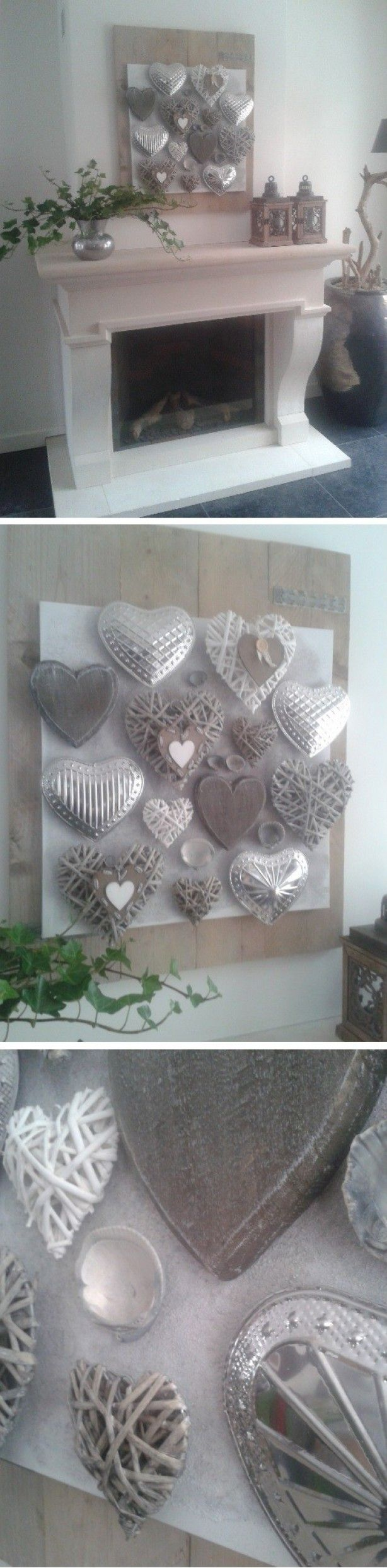 Steigerplanken, een canvaslijst, witte primer, hartjes, schelpen en zand maakt samen prachtige, landelijke KUNST!  Super makkelijke om te maken en het resultaat is helemaal tóp!