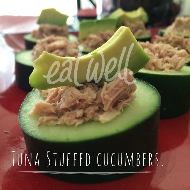 Fill the cucumber with cream cheese or laughing cow, and tuna. And you have a healthy sushi.
