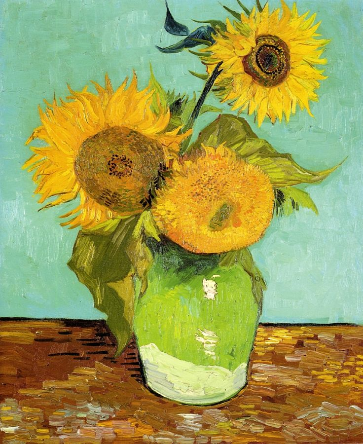"Sunflowers-1888 by Vincent van Gogh ""To van Gogh, the color yellow represented happiness, and in his Dutch culture, the sunflower means devotion, making it the perfect subject to paint."" --- from Live Happy magazine (Oct. '14)"