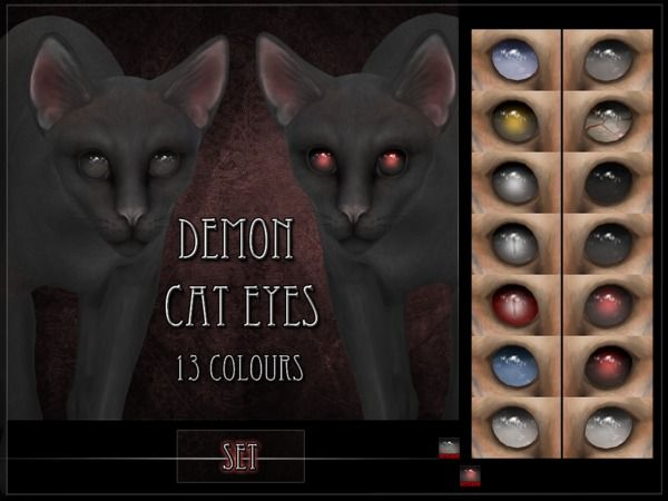 Remussirion S Demon Cat Eyes Set Sims 4 Pets Sims 4 Pets Mod Sims 4