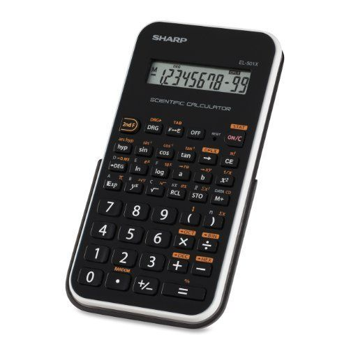 Sharp Electronics EL-501XBWH Engineering/Scientific Calculator by Sharp. $8.81. The EL-501XBWH 10-Digit calculator is a great companion for any math student. It covers a range of potential math problems with the ability to perform over 130 scientific and math functions. It features a large, one-line, ten-digit LCD display that makes it easy to read numbers as they're entered and answers to equations. The calculator is battery powered with automatic shut-down, ensuring that pow...