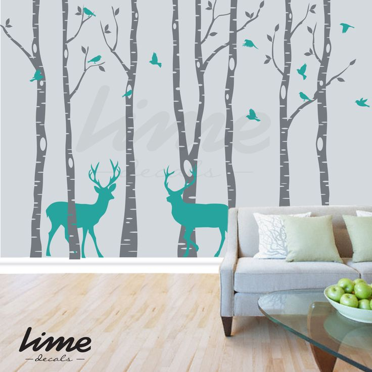 Wall decals are currently one of the hottest trends in home décor, Decals are an easy way to decorate any living room, nursery, or bedroom and change It from ordinary to extraordinary.  Watch our video: so cute! http://youtu.be/1wFJlWvHmSM ★ [ What are included in this item ] Decals: birch trees-birds- branches and leaves (branches are applied separately) 2 deer Free applicator tool included!! Instructions of applying and removing ★ [ SIZE ] Available sizes:  84 (7 feet) $99.00...