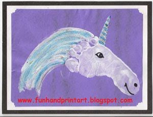 Preschool Crafts for Kids*: Footprint Unicorn Horse Craft @A must for any little New Braunfels Unicorns!