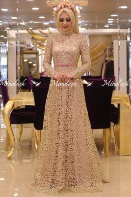 Minel Aşk Pudra Rana Tesettür Abiye Elbise