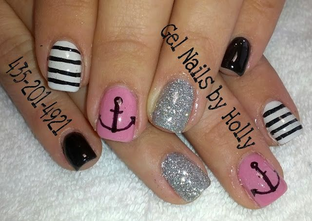Pink, black and silver gel nails with anchor