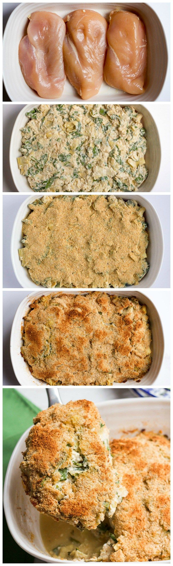 Super creamy (but lightened up) spinach artichoke chicken casserole - just 10 minutes to prep! Makes a great weeknight dinner or meal for company! | FamilyFoodontheTable.com (Chicken Casserole)