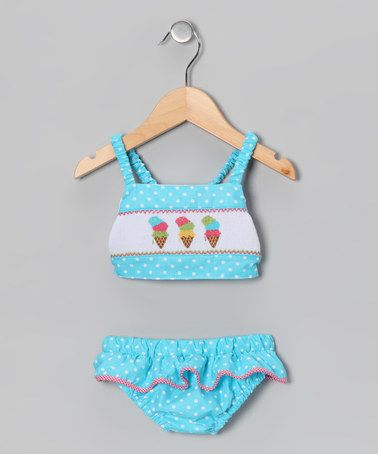 Take a look at this Light Turquoise Polka Dot Ice Cream Tankini - Infant & Toddler by Fairies Kid on #zulily today!