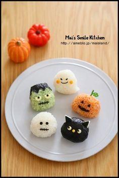 ☾☾ Halloween Ѽ Savory Eats ☾☾ riceballs for halloween