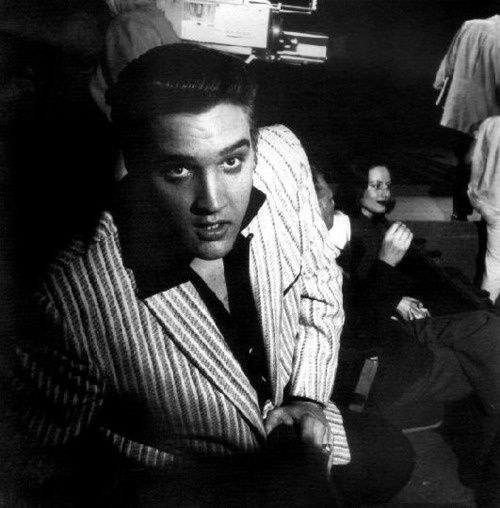 Elvis - candid moment during rehearsals @ the Milton Berle Show.