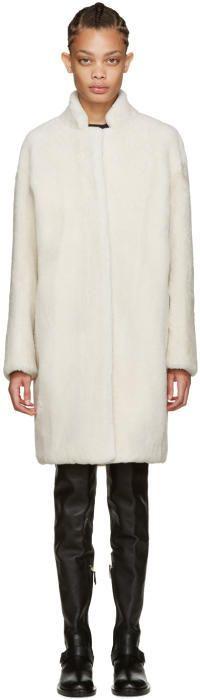 Yves Salomon - Meteo Off-White Shearling Coat