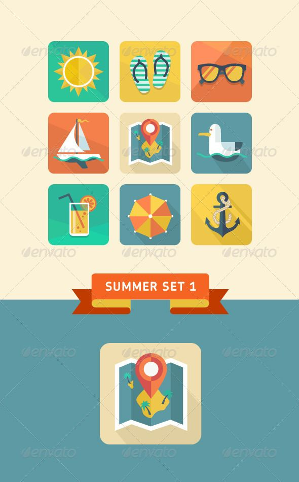 Summer icons 1.  #GraphicRiver         Flat design trend. Retro color. Vector illustration.  	 Set include: Sun, sunglasses, yacht, slippers, map, anchor, sea gull, umbrella and lemonade icons.  	 File types: Adobe Illustrator 10 EPS, Adobe Photoshop CS PSD.     Created: 10September13 GraphicsFilesIncluded: PhotoshopPSD #TransparentPNG #VectorEPS HighResolution: Yes Layered: Yes MinimumAdobeCSVersion: CS PixelDimensions: 120x120 Tags: anchor #beach #circle #design #element #glasses #icons…