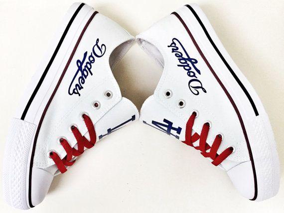 Custom LA DODGERS White/Red ROYAL Blue Women's & Men's Low Tops Canvas Tennis Shoes