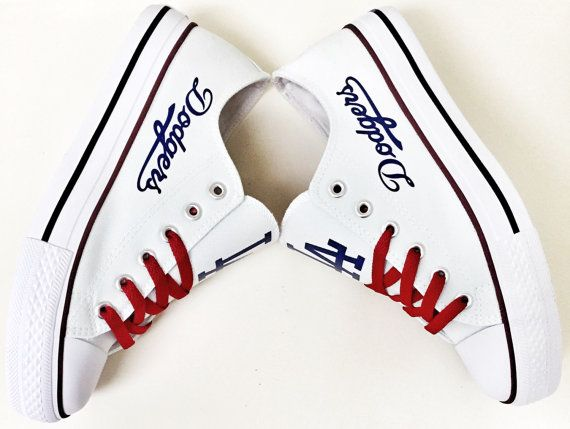 Custom LA DODGERS White/Red ROYAL Blue Women's by Coast2coastkicks
