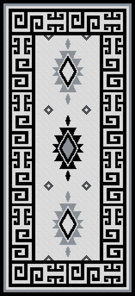 PATRON PUNTO CRUZ (Foto del Bordado Virtual) Alfombra Mapuche Para bordar en Lanas 158 Puntos de Ancho 344 Puntos de Alto Utiliza 4 Colores