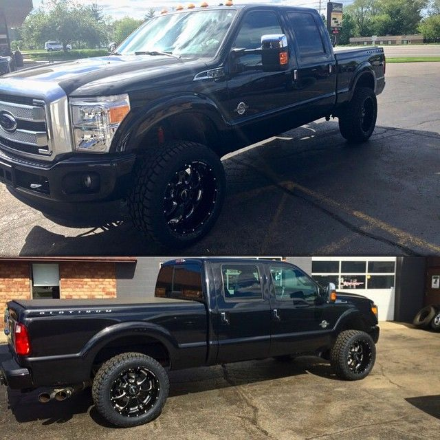 """New F-250 with 2"""" Daystar level kit, 22"""" BMF Novakane wheels, Toyo A/T II tires, and AMP research power steps. @ford  Dealership conversions. Automotive Customizing located in Grand Rapids, Michigan. Venom Motorsports. Financing Available (616) 635-2519"""