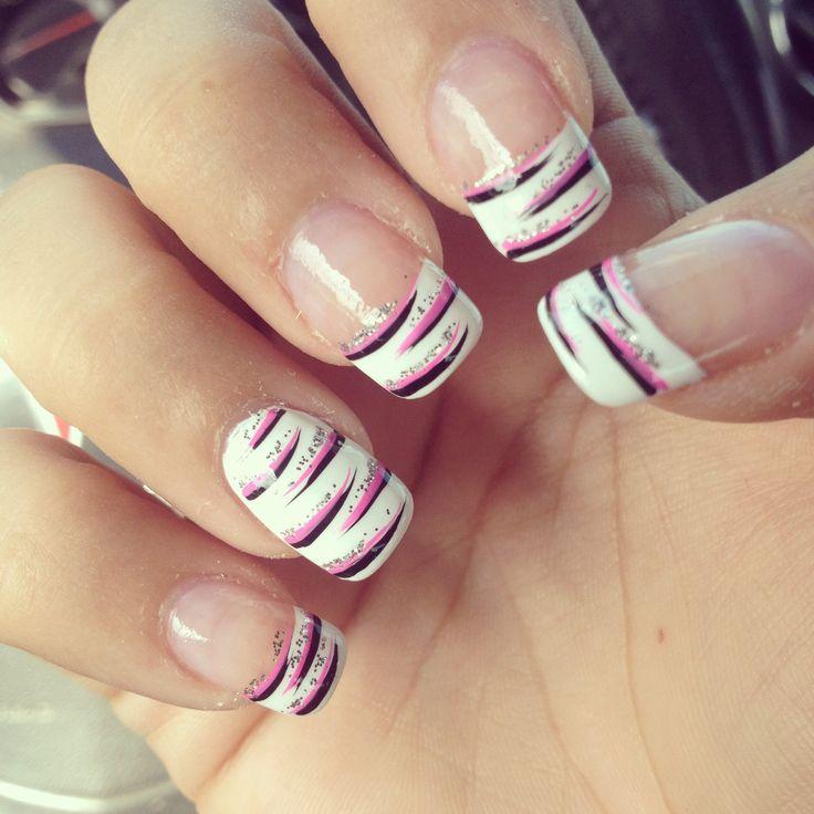 Nails, French tip, zebra tip, zebra nails, black pink zebra, girly nails